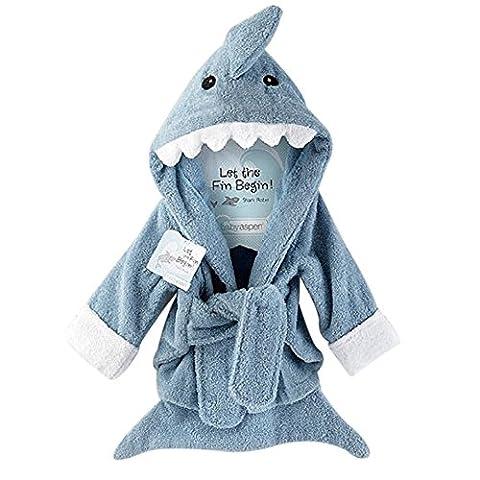 URAQT Cute Animal Baby Bathrobe Soft Hooded Towels Infant Wrap Grey Shark