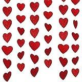 Konsait San valentín decoración Corazones Guirnaldas de PVC Colgar decoración para Aniversarios, Compromiso, Fiesta de Bodas, San Valentín decoración, 6 Hilos