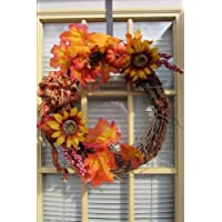 A Autumn Leaf and Sunflower Grapevine Window Wreath Journal: 150 Page Lined Notebook/Diary