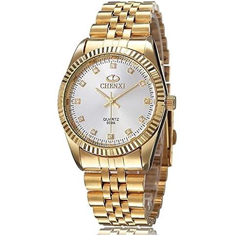 downj da uomo Design Classico Oro in acciaio inox display analogico maschio diamanti quarzo orologio da polso