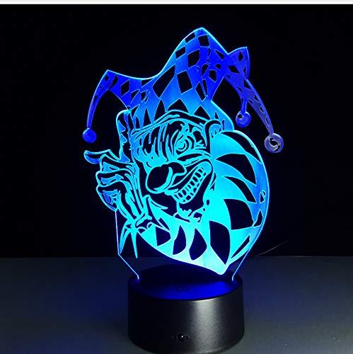 3D Clown LED Nachtlicht Neuheit 7 Farben Ändern Acryl Bunte Gradienten Atmosphäre Illusion Lampe Halloween Weihnachtsgeschenk