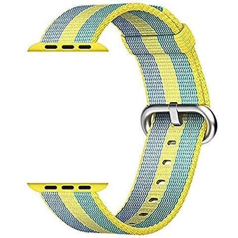 CICIYONER 1 PC Release Sport Royal Woven Nylon Armband Strap Band für Apple Watch 42mm, 6 Farben zu wählen (Gelb, Apple Watch 42mm)