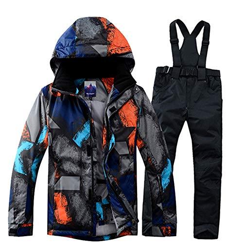 JJZZ Abbigliamento da sci Tuta da Sci Uomo Inverno Termico Impermeabile Abbigliamento Antivento Pantaloni da Neve Giacca da Sci Uomo Set Tute da Sci E Snowboard