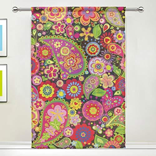 CPYang Vorhang Blätter Blumen Tribal Paisley Voile Fenster Vorhang Vorhänge für Wohnzimmer Schlafzimmer Tür Küche 139,7 x 198 cm, 1 Paneel, Textil, Multi, 55 x 78 inch - Voile Paisley