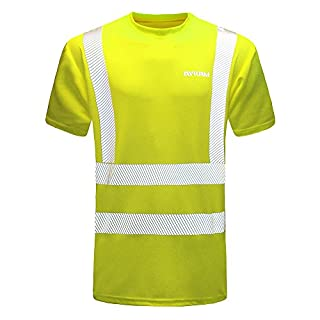 AYKRM Hi Viz VIS High Visibility t Shirt Reflective Tape Safety Security Work T-Shirt Breathable Lightweight Double Tape Workwear Top EN ISO 20471 (Yellow, XXL)