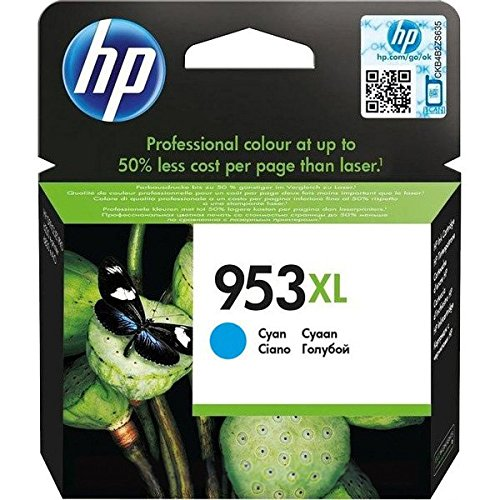 HP 953XL Cyan Original Ink Cartridge 20ml 1600páginas Cian cartucho de tinta – Cartucho de tinta para impresoras (HP, Cian, OfficeJet Pro 8210 OfficeJet Pro 8218 OfficeJet Pro 8710 AiO OfficeJet Pro 8715 AiO OfficeJet Pro…, High (XL) Yield, 20 ml, 1600 páginas)