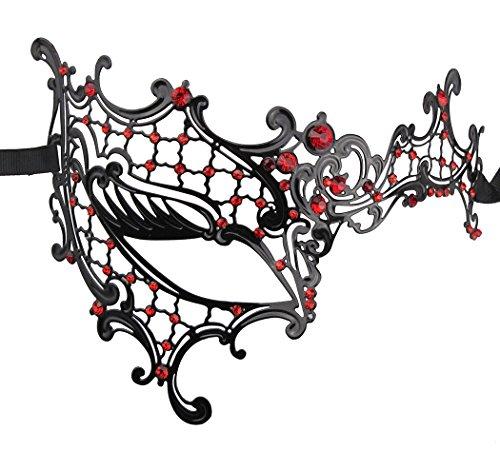Luxus Geheimnisvolle Maske Lady Half Face Masquerade Halloween Mardi Gras Maske Laser (Kostüme Masquerade Princess Halloween)