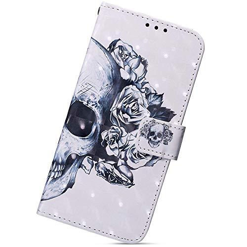 Herbests Kompatibel mit Huawei P30 Handy Hülle Lederhülle Handytasche Bling 3D Bunt Glitzer Muster Flip Case Cover Leder Tasche Bookstyle Wallet Klapphülle,Totenkopf Weiß Blume