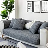 Ritaba Baumwolle Couch Sofa Überwürfe, Atmungsaktive Quilting Anti-Skid Übergroßen Sofa Überwürfe Hussen für Sofa Für ledersofa Für 1 2 3 4 Sitzkissen-Grau 110x160cm(43x63inch)