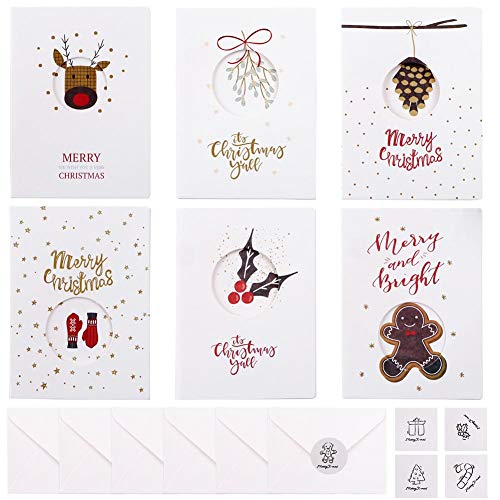 24 Tarjetas de Navidad con Sobres y Pegatinas