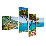 islandburner Bild Bilder auf Leinwand Scenic Bild-Ansicht Ansicht der berühmten Amalfiküste mit Golf von Salerno von V Wandbild Leinwandbild Poster DSO