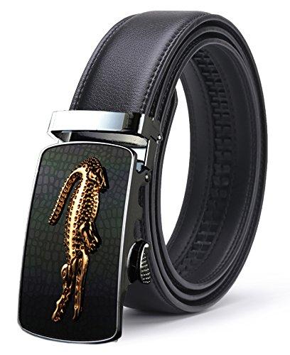 ITIEZY Herren Ratchet Automatic Gürtelschnalle (Gleitschnalle) Ledergürtel für Männer- Länge: Bis zu 49,2 inch (125cm), Schwarz