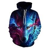 Comeon Unisex Slim Fit 3D Digital Bedruckte Sweatshirt Kapuzenpullover Hoodies (S/M, Wolf)