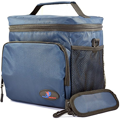 "Family Picnic Cool Bag with Double-Sewn Nylon Zipper Closures with Large Side Pockets Carry Handle and 48"" Shoulder Strap (Large, Navy Blue)"