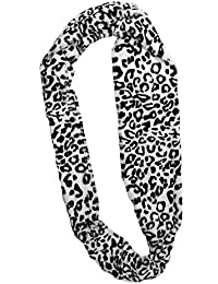 New luxury fleecy super soft leopard print snood scarf WHITE