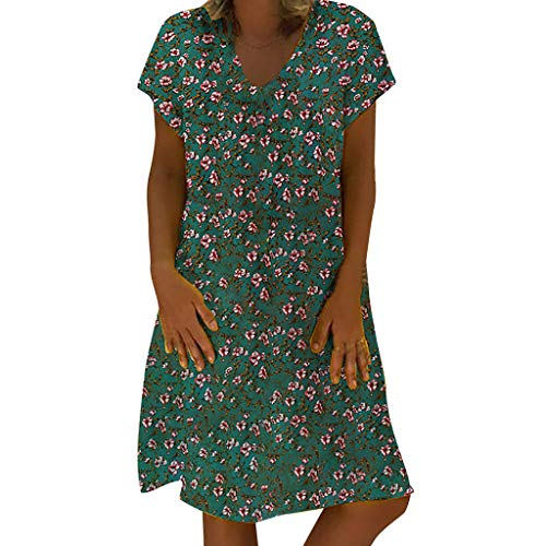 BoyYang ✿ Kleider Damen ✿ V-Ausschnitt Kurzarm Boho Sommerkleid Strandkleid Casual Mini Abendkleider Elegant Cocktailkleid Multi-Way Maxikleid Kurz Chiffon Party Kleid S-5XL