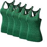 FOLLOWUS 5er Pack Damen Trägertop Unterhemd Tank Top,Green,XXL