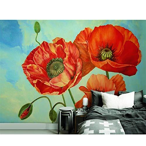 Mrlwy Benutzerdefinierte HD Wallpaper 3D Wandmalereien Natur Pflanzen Rote Blume Wand Papier Home Decor Ölgemälde Wandverkleidungen 3D Tapete-270X200CM