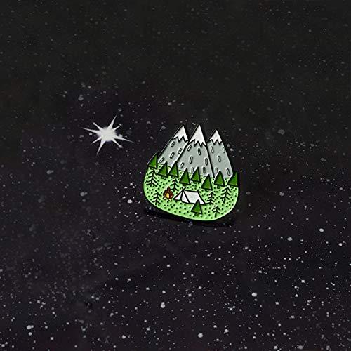 JTXZD Brosche Cooles Outdoorsy s! My World Moonlight Mountain Forest Abenteuer Entdecken Camping Zelt Primitive Emaille Revers Broschen Pin -