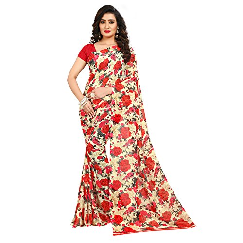 Anand Sarees Faux Georgette Printed Red Color With blouse Piece ( 1437_1)