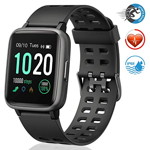 FITFORT Smartwatch,Fitness Watch Uhr Voller Touch Screen Fitness Uhr IP68 Wasserdicht Fitness Tracker Sportuhr mit Schrittzähler Pulsuhren Stoppuhr für Damen Herren Smart Watch für iOS Android Handy