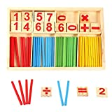 Exclusky Numero di giocattoli educativi in legno Simbolo Blocchi e bastoncini di 4 colori Matematica Educazione Calcolo con scatola regalo Bambini