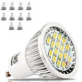 GU10 LED 5.5W Lampen AC85-265V. vgl. 50W Halogenlampen,500LM,GU 10 LED Warmweiß 3000k,90% Kompatibel,kein Flimmer, Kein Lärm, CE LED Leuchtmittel,10er Pack