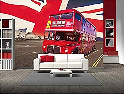 Xcmb Moderne Einfache Vintage-Stil-Ikone London Double Decker Bus, London Bridge Und Union Jack Flag Wallpaper Fototapete-250Cmx175Cm -