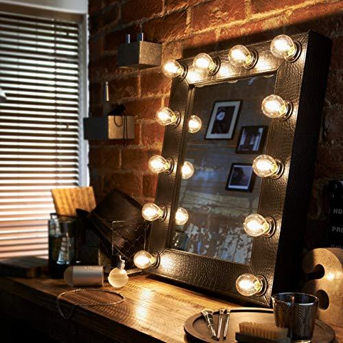 Schwarz Faux Krokodil (Die Broadway Faux Krokodil schwarz beleuchtet Hollywood Theater Make Up Spiegel Licht Ankleidezimmer Tisch oben oder Wand montiert Schminktisch)