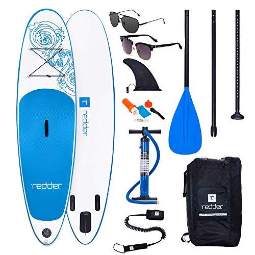 """REDDER Tablas Paddle Surf Hinchables VORTEX 8'8"""" All Round Tabla Stand Up Paddle - KIT con Bravo SUP3 Inflador, Aluminio Pala Ajustable 3 Piezas, Mochila de Viaje, Correa Elástico Flexible, Kit de Reparación"""