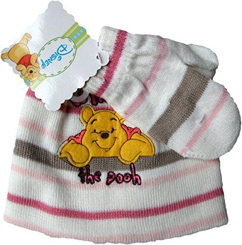 Disney Winnie Pooh Baby Winterset Mütze und Handschuhe - Winnie the Pooh - Weiß/Pink/Mehrfarbig