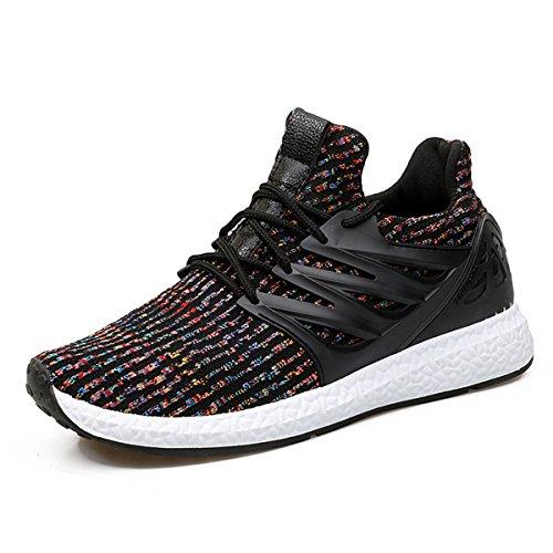 Baskets Mode Homme Femme, Gracosy Sports Léger Sneakers Basses Chaussures de course Running Ville Training Tennis, NOIRE GRISE (Grille de poiture à voir) - 41 EU
