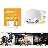 LED Aufbau Deckenlampe weiß, rund & schwenkbar (extra flach) inkl. fourSTEP LED Modul 5W, 420lm, 4000K) - Dimmen ohne Dimmer