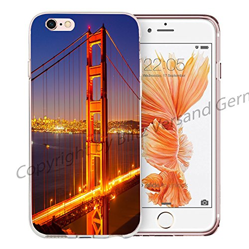 Blitz® NEW YORK motifs housse de protection transparent TPE caricature bande iPhone Cerf dans la montagne M13 iPhone 7 7s Golden Gate Bridge M1