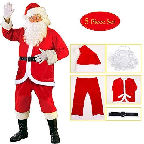 C-Oral 5-teiliges Weihnachtsmann Kostüm Nikolauskostüm Kostüm für Herren Mit - Mütze, Bart, Gürtel, Mantel, Hose (C Mit Kostüme)