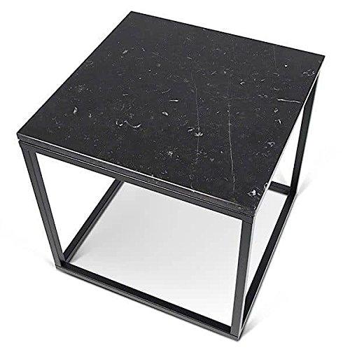 PRAIRIE, table basse ou table d'appoint, en placage de bois ou marbre, de jolies réalisations, bien dans l'air du temps ! - designer : INÊS MARTINHO - table d'appoint carrée, 50 x 50 x 50 cm - Marbre noir (marquina noir, 2 cm), pieds en acier noir