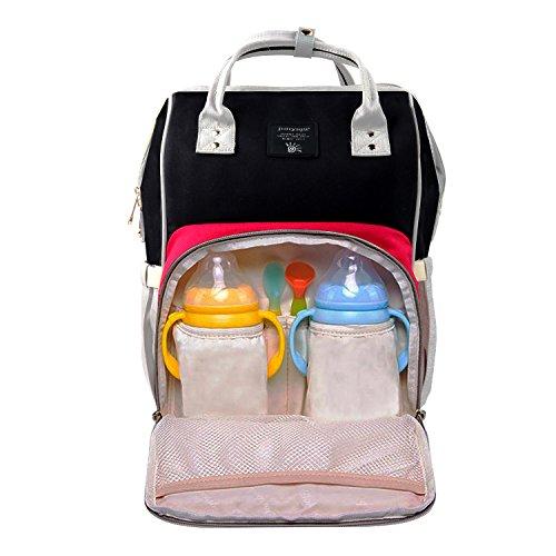 Baby Wickeltasche Wickelrucksäcke,Gintenco Multifunktional Wickeltasche Reise Rucksack für Reisen und Kinderwagen, mit einem hohen Fassungsvolumen(Rot,Schwarz und Weiß)