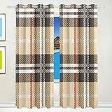 XiangHeFu Schöne Einrichtung Verdunklungsvorhänge mit Tülle Top Vintage Geometric Stripe Checkered Kariert Vorhänge Set von 2Platten, je 55W x 84L Zoll für Home Wohnzimmer Schlafzimmer Büro