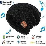 Waschbare Bluetooth Beanie Hut Musik Cap mit Wireless Stereo Bluetooth Kopfhörer 4.2 In Ear Kopfhörer Headset für Sport & Outdoor, kompatibel mit iPhone Android Handys (Schwarz)
