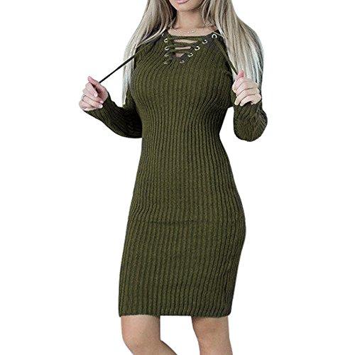 Damen Langarm Sweater Kleider Bodycon Gestrickt Minikleid Sexy Riemchen Bleistiftrock als Abendkleid Partykleid Frühling Herbst Pulli Kleid