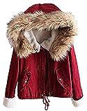 Minetom Damen Warm Verdicken Winterjacke Mantel Mit Plüsch Kapuze Winddicht Tasche Tunnelzug Kurze Parka Gezeichnet Jacke Outerwear Rot DE 36