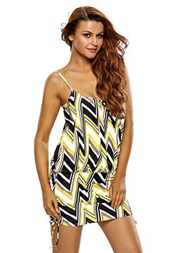 Neue Damen Plus Größe gelb & schwarz Zickzack Spaghetti Gurt Tankini Swim Top Kleid Bademode Monokini Sport Beachwear Badeanzug Größe 2X L UK 16EU 46 (Top Monokini)