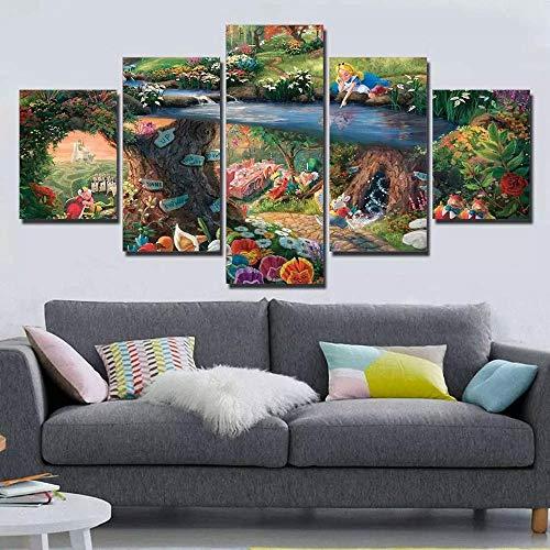 xvhsx Leinwanddrucke 5 Panel Hd Drucken Thomas Kinkade Alice Im Wunderland Malerei Leinwand Wandkunst 5 Stück Bild Home Decoration Print -