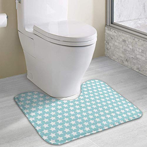 Geometrical Squares Crosswise Stripes Water Uptake Toilet Rug and Customized Artwork Print Bathroom Carpet Rug Bath Mat 15.8 X 19.3in -