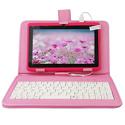 Yuntab 8GB Q88 7 inch Android Quad-core Tablet PC, 1024*600, Allwinner A33 , Google Android 4.4 ,with Dual Camera Google Play Pre-loaded, External 3G ,3D-Game Tablet with Keyboard Case (Pink+Pink)