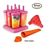 P & E Stieleisformen Eisformen, 6 Stück Eis am Stiel und 1 Stück Eislutscher Formen und 1 Silikon mit Trichter, Quadratische Eisformen aus 100% Lebensmittelsilikagel, Ideal für DIY Selbstgemachtes Eis für Kinder und Erwachsene