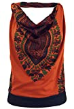 Guru-Shop Goa Top, Dashiki Psytrance Neckholder Top, Damen, Rostorange, Synthetisch, Size:M/L (38/40), Tops, T-Shirts, Shirts Alternative Bekleidung