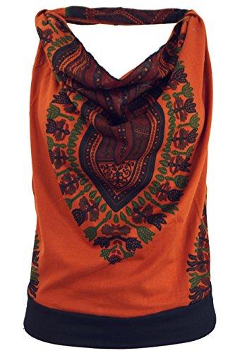 Guru-Shop Goa Top, Dashiki Psytrance Neckholder Top, Damen, Rostorange, Synthetisch, Size:S/M (34/36), Tops, T-Shirts, Shirts Alternative Bekleidung