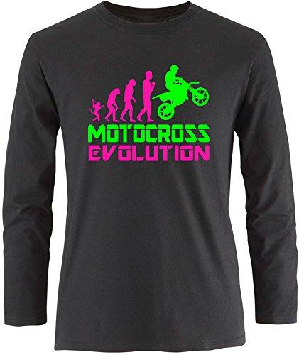 EZYshirt® Motorcross Evolution Herren Longsleeve Schwarz/Pink/Neongr