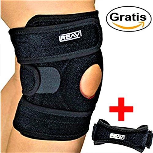 KNIEBANDAGE mit Stabilisatoren + gratis KNIEGURT - verstellbare orthopädische Kniebandage & Kniegurt für Patellasehne, Meniskus, Kreuzband und Kniescheibe - REAV
